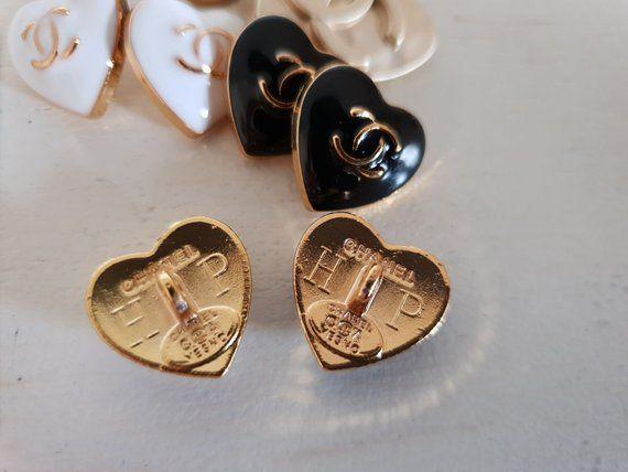 Seltene Herz Form Chanel Gold Weisser Emaille Taste 16mm Etsy