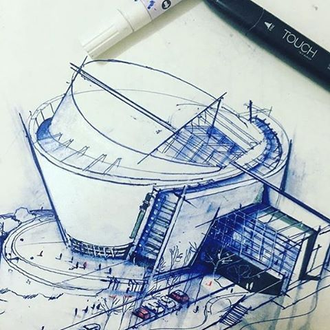 Architecture Design Concept Sketches
