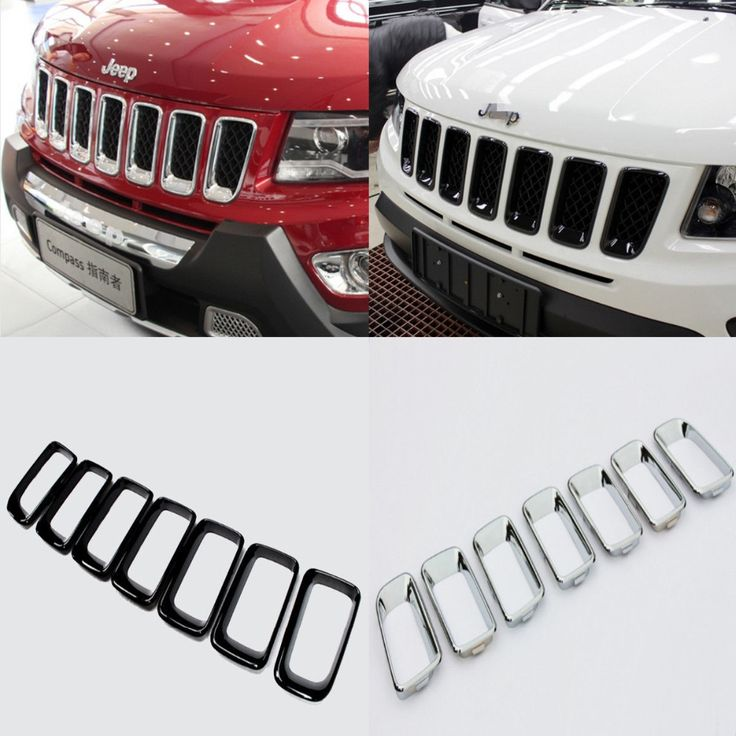 78.19$ Buy here - http://ali33z.worldwells.pw/go.php?t=32723654956 - Chromed ABS Plastic 2 Colors 7PCS Front Center Grille Vent Hole Cover Trim For Jeep Compass 2011 2012 2013 2014 2015