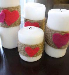 Velas decoradas con cordón y corazones de fieltro #SanValentin