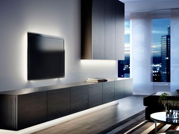 Armario de pared BESTÅ negro-marrón y mueble de TV con puertas negro-marrón