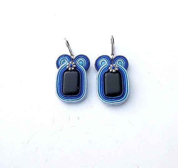 Dangle Earrings Soutache Earrings Blue Jewelry Soutache Embroidery Handmade Gift