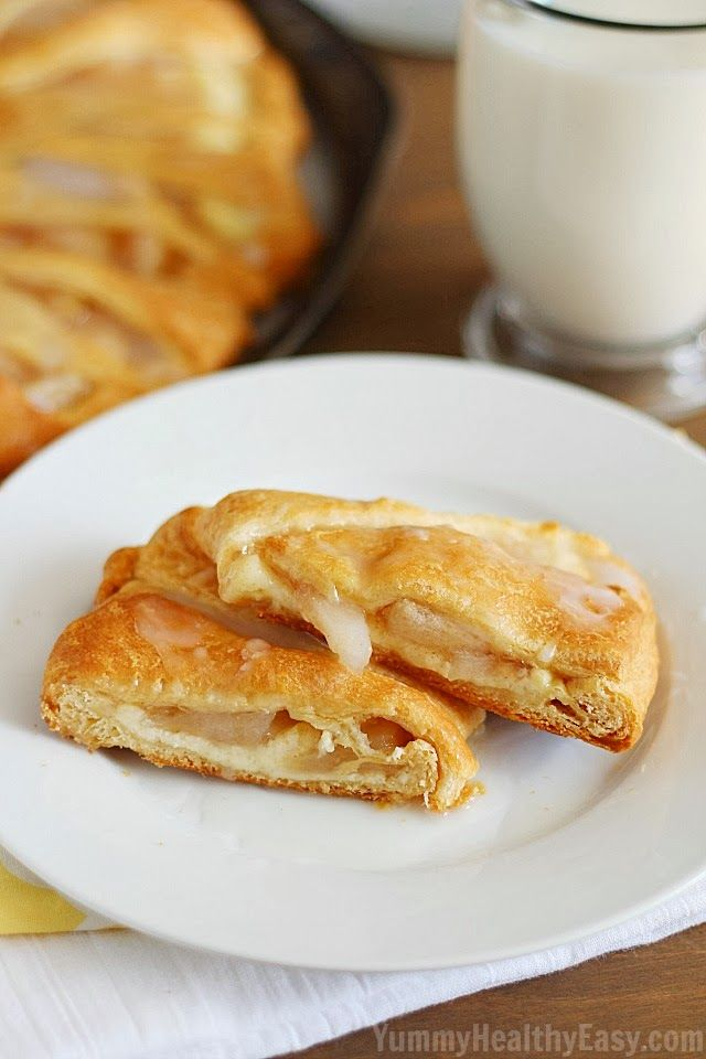Apple Cream Cheese Breakfast Pastry | Crescent rolls laid out in a circle and filled with a cream cheese filling and apple pie filling then drizzled with a yummy glaze on top!