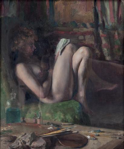 Émile FRIANT (1863-1932) «Un coin d'atelier», 1922