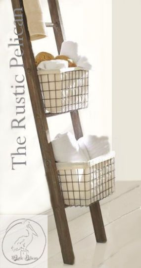 Rustic Bathroom Ladder -Farmhouse Ladder - Rustic 6ft - 4ft Ladder - Wooden Ladder - Rustic Towel Rack -Primitive Home Decor - Magazine Rack