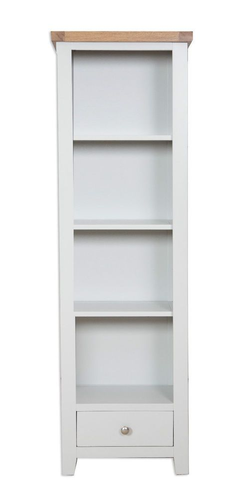 Canberra French Grey Chunky Rustic Oak Top Tall Narrow Bookcase Fully Embled
