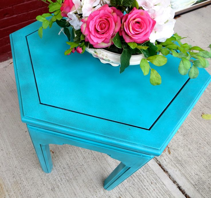 17 best images about the color turquoise on pinterest for Bright colored side tables