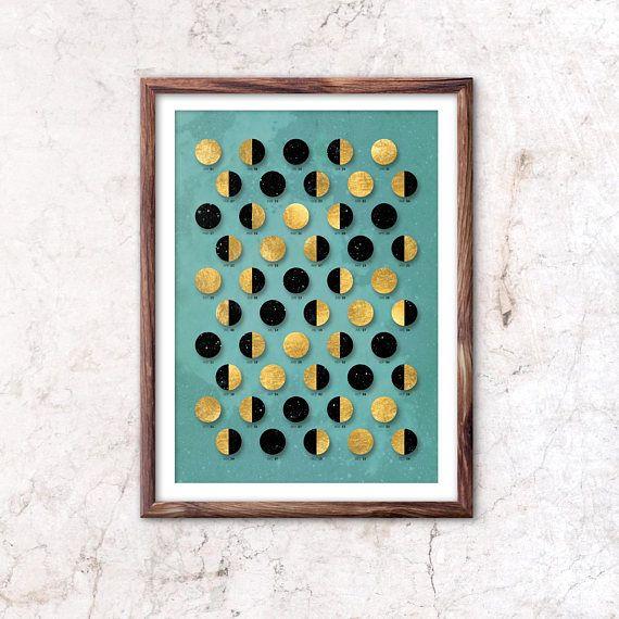 Goldener Mond / nur Mond Kalender 2018 - A3, A3 +, Größe A2 / home decor  * Illustration und Design von Mojca Dolinar.  Wir fertigen Monde nach den Zustand, den, dem Sie herkommen. Sehen Sie im Shop hat die Mondphasen berechnet mithilfe der Ortszeit in New York.  * Abbildung  * Dieser Druck
