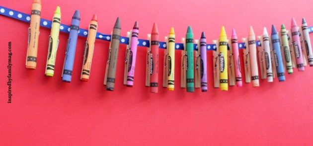 Instead of a banner, use crayons glued on clothespins to display student work. too cute. @allysaxon