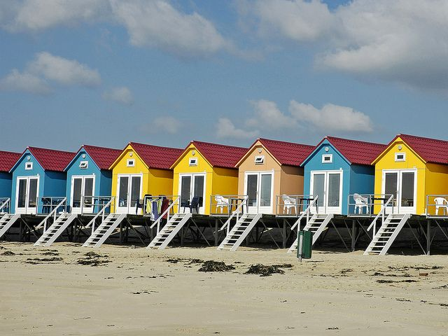Dutch beach hut in Zeeland, Netherlands