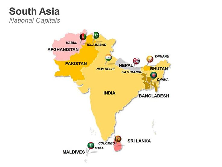 Editable PowerPoint Maps: South Asia Map