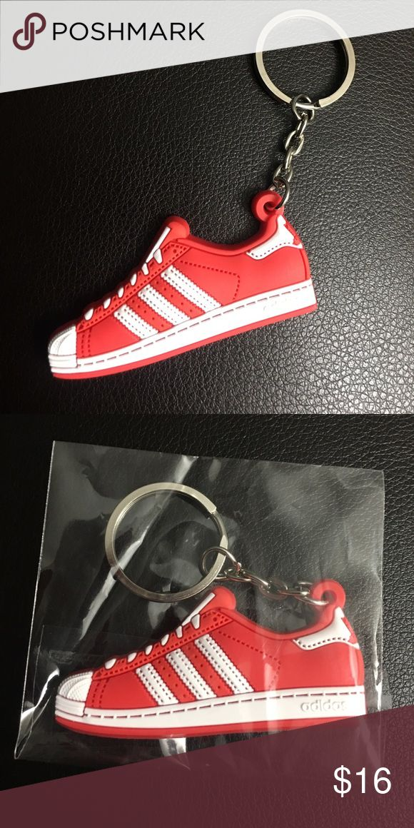 😎 Adidas Shell-toe Keychain Mini silicone Adidas Superstar Shell-tops. Color: Varsity Red, white stripes, cool looking. Other classic styles available, check out my closet for lots of fun new merchandise 😊New in package! Accessories Key & Card Holders