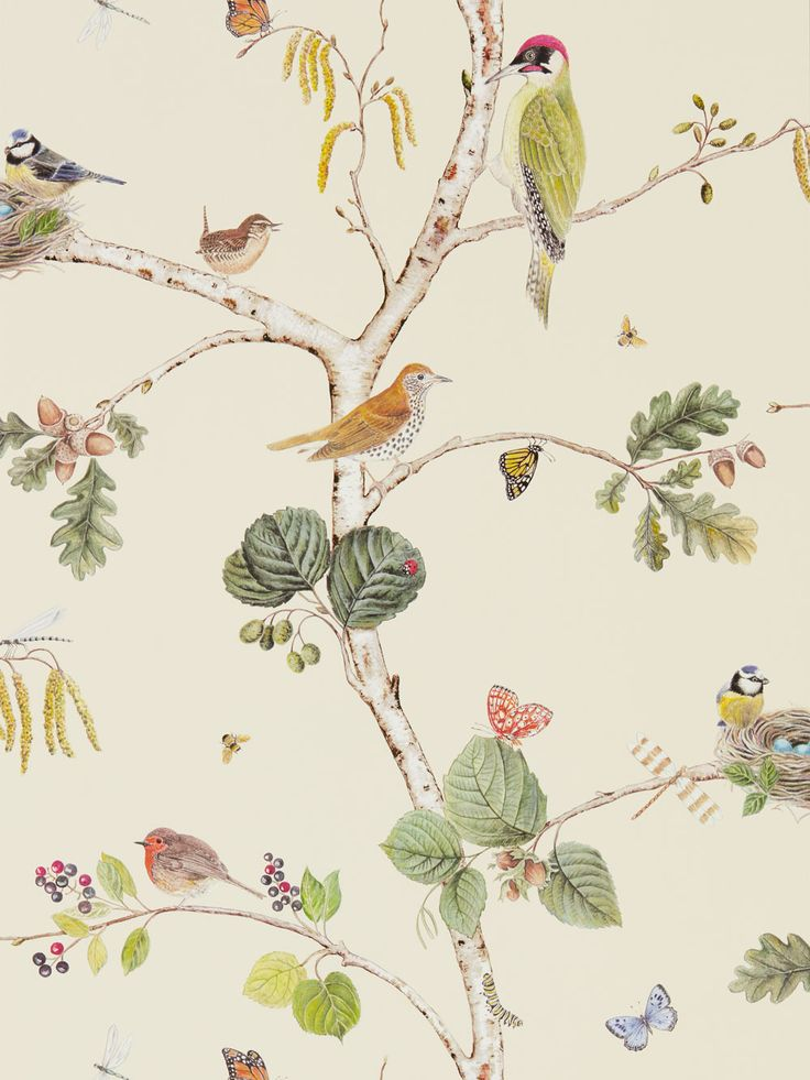 Woodland Chorus Cream wallpaper by Sanderson