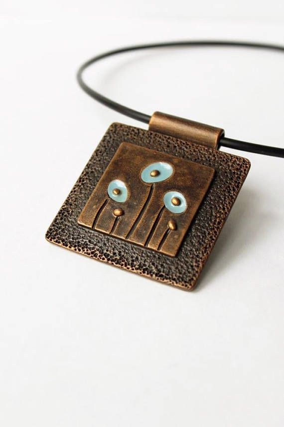 Blue Flower Polymer Clay Pendant Chunky Square Wearable Art