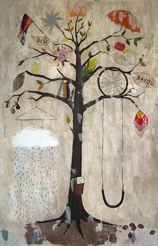 Love this as an idea for a class painting - kids draw something important or a symbol of something important to them and it goes on the tree.