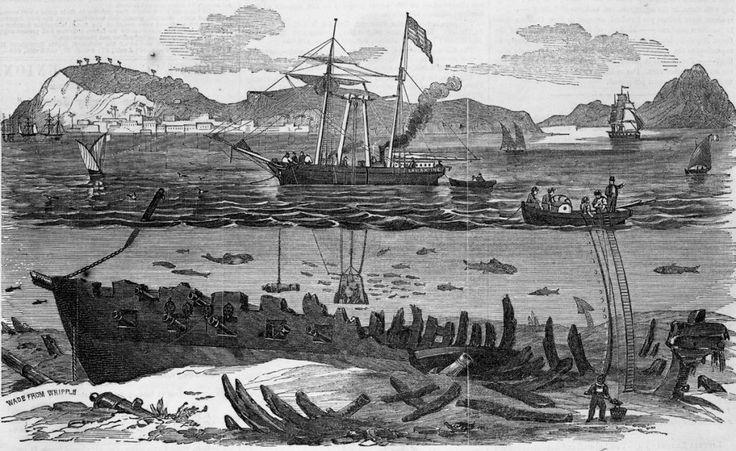 En esta oportunidad se emplearon palas mecánicas desde la superficie para rastrear y extraer del fondo del mar los objetos del San Pedro Alcántara