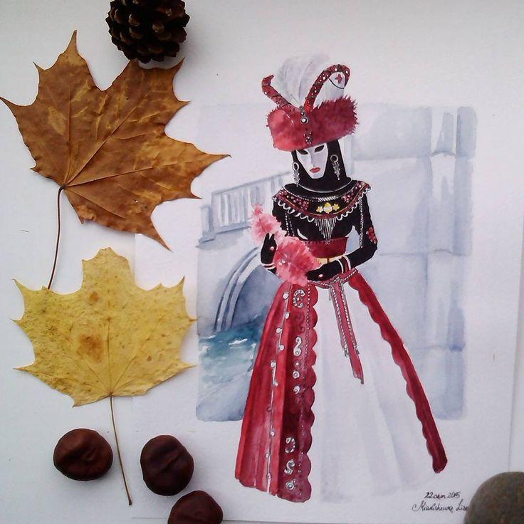 """День 18. Для темы """"Бал-маскарад"""" еле выбрала наряд. Карнавал в Венеции. #акварель #марафонрисования #рисуюкаждыйдень #учусьрисовать #карнавал #венеция #карнавальныекостюмы #watercolour #art #venice"""