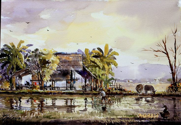 D Exhibition Chiang Mai : Indian watercolor landscape paintings google search