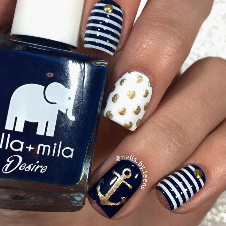 quenalbertini: Nautical nail art by nailsbyteens - Best 25+ Nautical Nails Ideas Only On Pinterest Anchor Nails