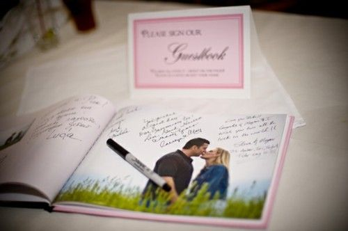 Create a photo book of your engagement photos to use as the guest book.