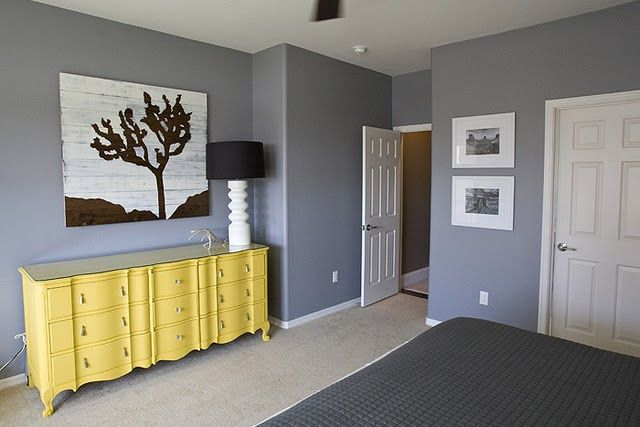 boys room: Grey Bedrooms, Yellow Dressers, Bedrooms Design, Wall Color, Paintings Dressers, Grey Wall, Master Bedrooms, Paintings Color, Eclectic Bedrooms