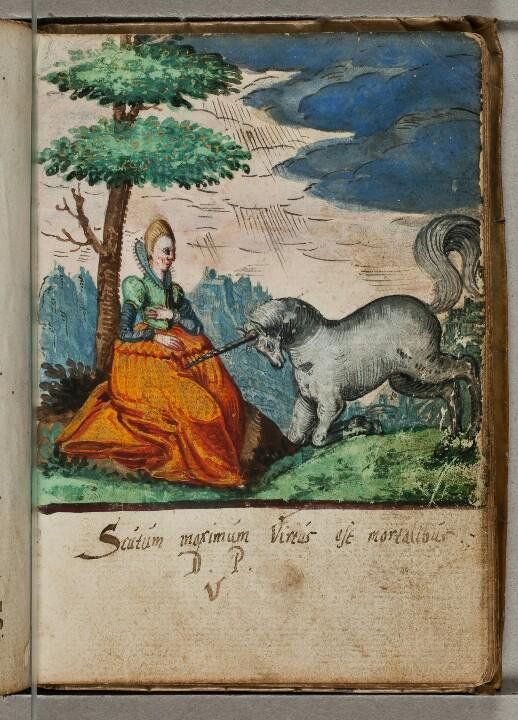 """have no idea where this ridiculously late example of the virgin's lap mode of unicorn-capture is from -- clearly some early 17C album amicorum page -- despite the transparent sexual innuendo of the unicorn's horn in the maiden's lap, the Latin caption means """"Virtue is the greatest shield for mortals""""!"""
