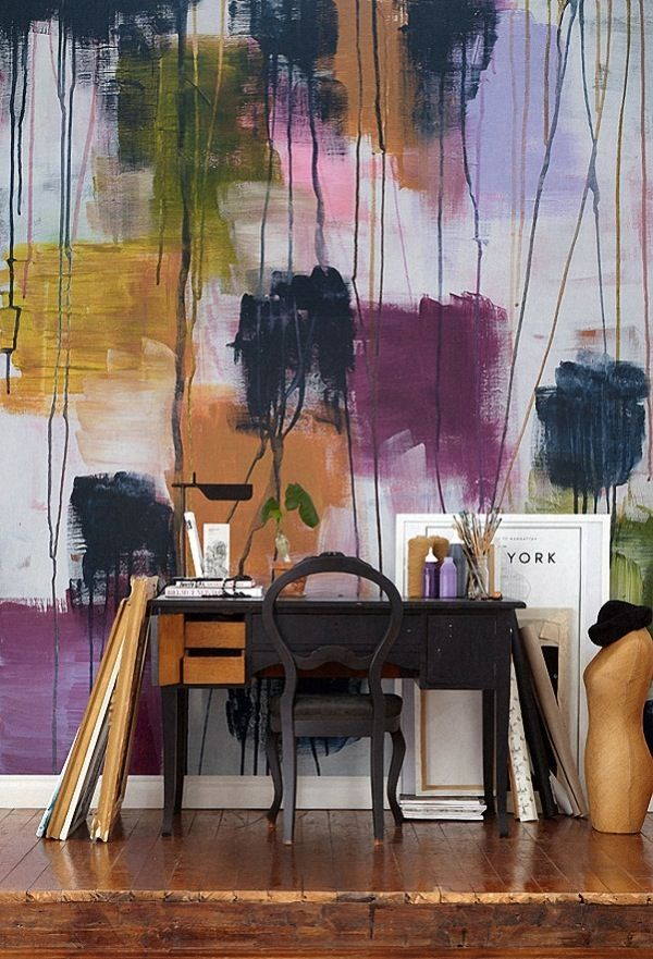 Wouldn't I love to have a workspace like this!  Erin, come paint my walls please!  Haute Design by Sarah Klassen: Welcome, September