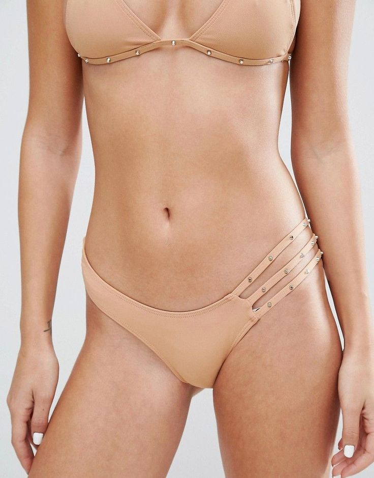 MINIMALE ANIMALE STUDDED BIKINI BOTTOM - BEIGE. #minimaleanimale #cloth #