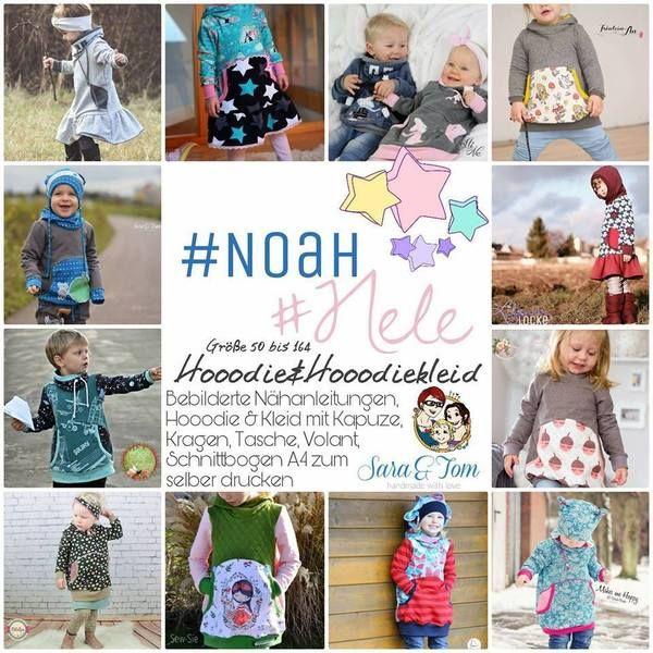 "Kombi-eBook - ""Noah & Nele"" - From Heart to Needle - Pulli, Hoodie, Hoodiekleid, Pullikleid, Kleid - Nähen für Kinder - Mächen oder Junge - Glückpunkt."