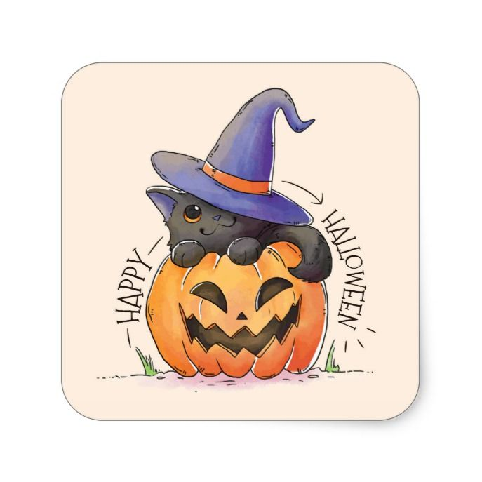 Cute Happy Halloween 2020 Cute Happy Halloween Pumpkin Cat Square Sticker | Zazzle.in