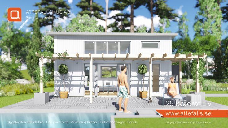 """""""25 kvadrat Liv"""", ett modernt attefallshus med allt och lite till. Vi anpassar det utifrån era förutsättningar och önskemål. Välkommen! #attefallshus #attefalls #atterfallshus #attefallshuset #arkitektur #boendefrågor #sommarhus #gästhus #minivilla #fritidshus #friggebod #ministuga #25kvadrat #compactliving #komplementbyggnad #komplementbostad #sommarnöjen"""