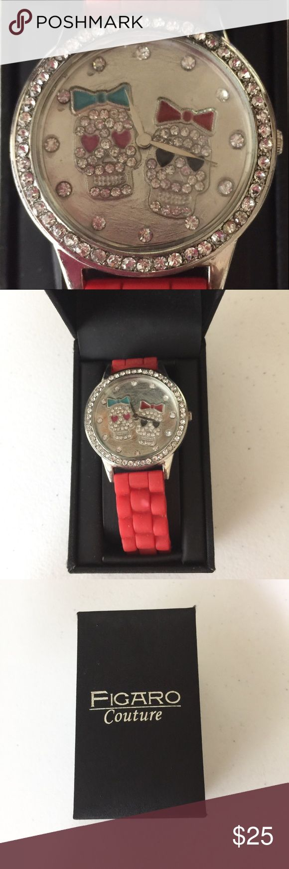 FIGARO COUTURE SKULL WATCH NWOT. New in box, silicone like red band. Accessories Watches