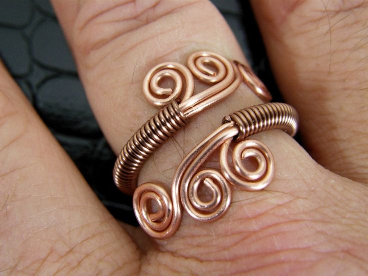 Adjustable Copper Wire Wrapped Ring Hand Crafted. $14.00, via Etsy.
