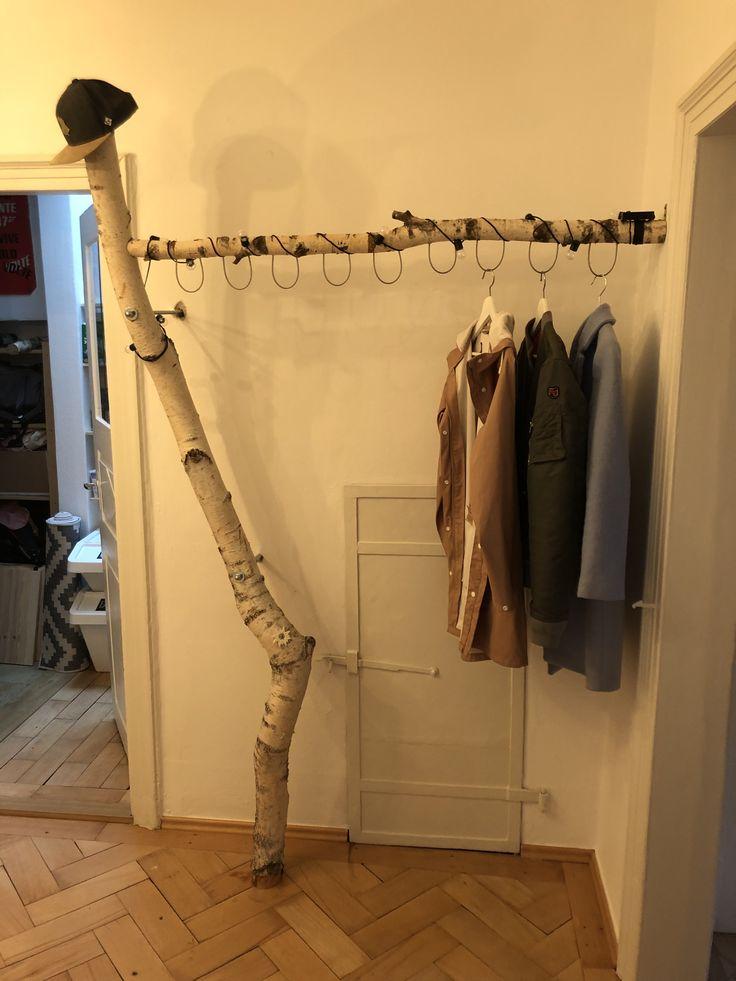 Birkenstamm Garderobe   Altholz garderobe, Garderobe holz ...