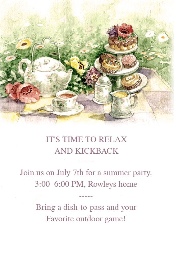 """Tea Party"" printable invitation. Customize, add text and photos. Print for free!"