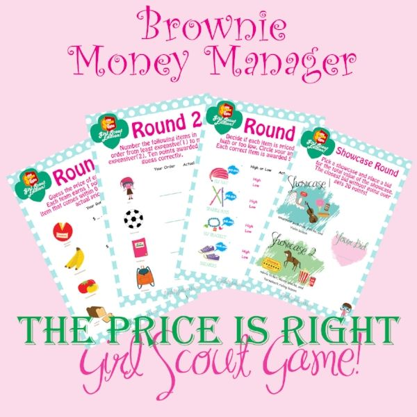 It's finally here and I'm so excited to share this with ya'll!!! I know  many of you have been asking for this and I was looking for a fun way to to  teach the money manager badge. What better way!  How to Play....  Have the girls break up into teams. Give each team a set of cards with  round 1-3 and the showcase round card. Go through each round individually  and reveal at the end of each round. After the first three rounds have the  girls add up their scores. The top two teams w...