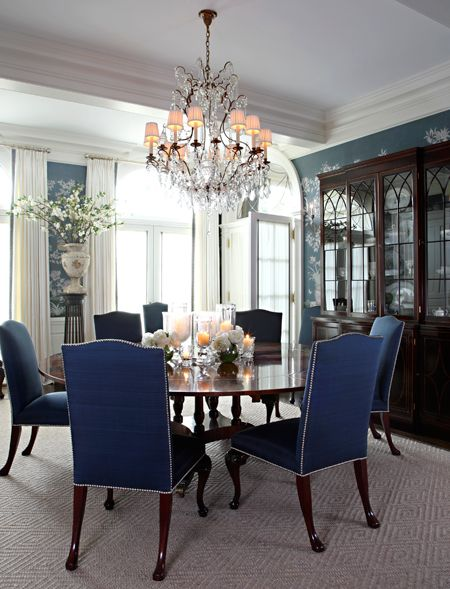 Royal blue dining chairs beautiful dining areas for Beautiful dining table and chairs