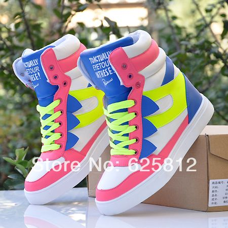 women's shoes 2014 spring Women's shoes high skateboarding shoes hip-hop women boots colorful sneaker high platform shoes woman 1 429,73 руб.