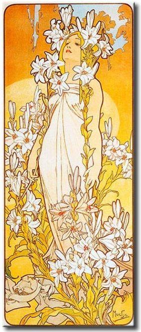 Cuadro Azucenas (de la serie Flores), Alfons Mucha