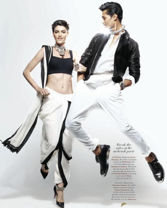 Black and White dhoti sari by Tarun Tahiliani