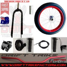 This Page is for Drift Trike Front Fat Wheel Kit with everything that you need to make your own Motorised Big Wheel Drift Trike Front End kit It Comes complete with 26 x 4.0 wheel including tyre tube and aluminium rim Steel forks Bearing headset tube to mount to frame Brake calliper Brake Disc Brake Lever Hand throttle Handle bar Forks/handlebar connecting