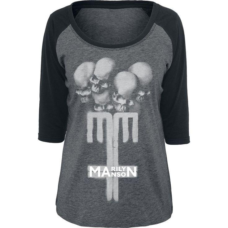 "Marilyn Manson T-shirt manches longues, Femme ""Skull Cross"" gris chiné/noir • Commander maintenant • EMP"