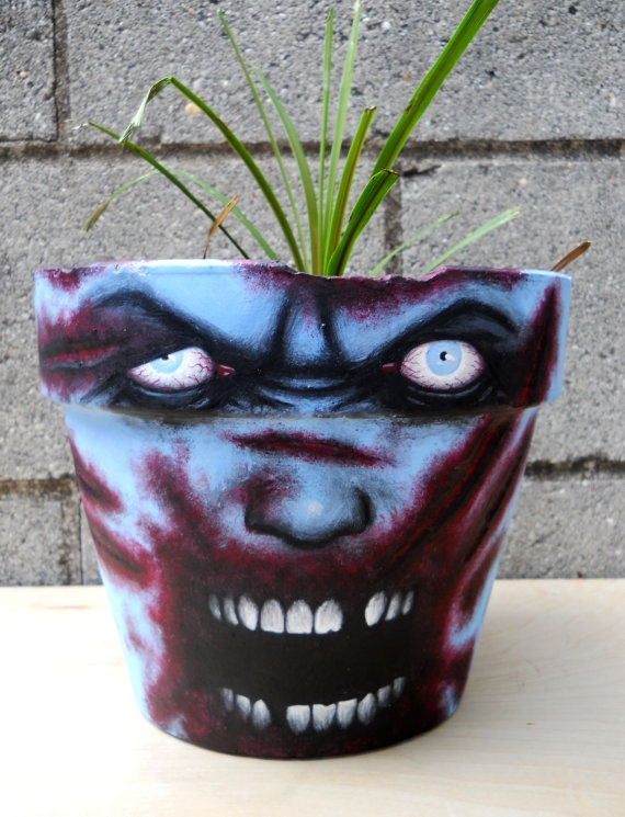 Zombie Walking Dead style LARGE painted flower pot by GingerPots, $60.00