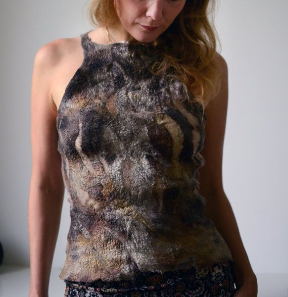 Natural top from wool and silk nuno felt and eco print for Autumn and Winter OOAK