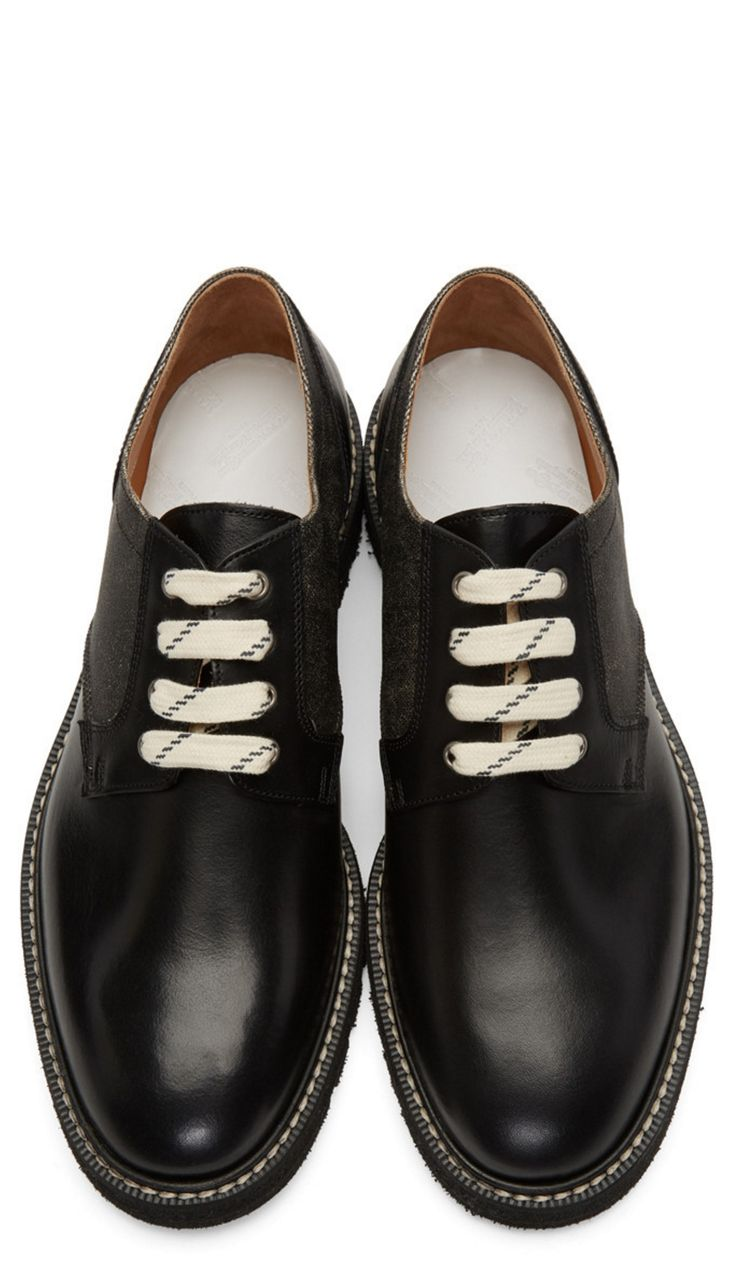Maison Margiela Black Panelled Derbys from SSENSE (men, style, fashion, clothing, shopping, recommendations, stylish, menswear, male, streetstyle, inspo, outfit, fall, winter, spring, summer, personal)