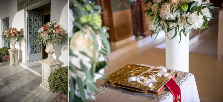 Church decoration with elegant highlights.  Hydrangeas, eucalyptus, roses and wild greenery!