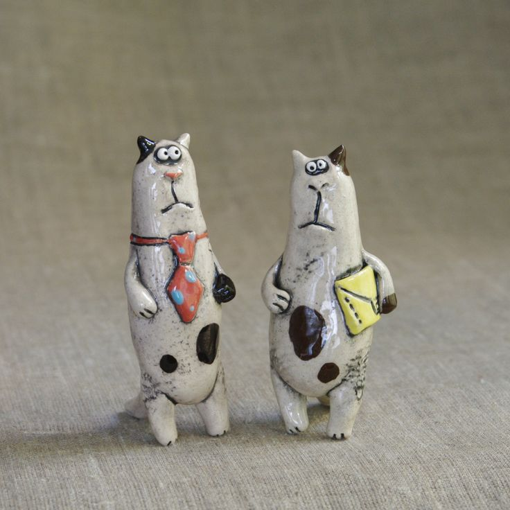 "Ceramic figurines ""Business cats"" by KuklaArt on Etsy"