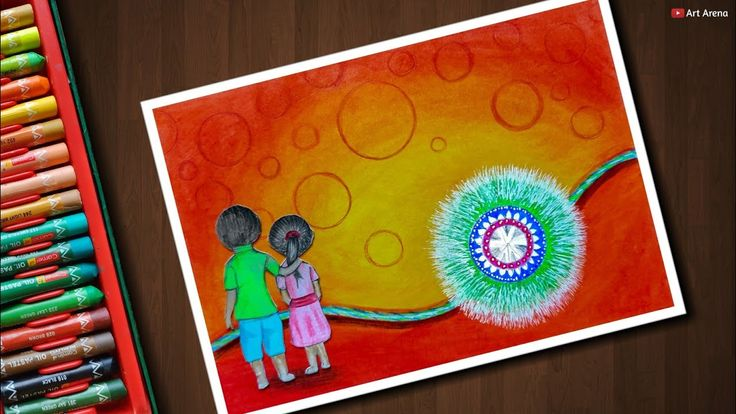 Raksha Bandhan drawing with Oil Pastels and colour pencils