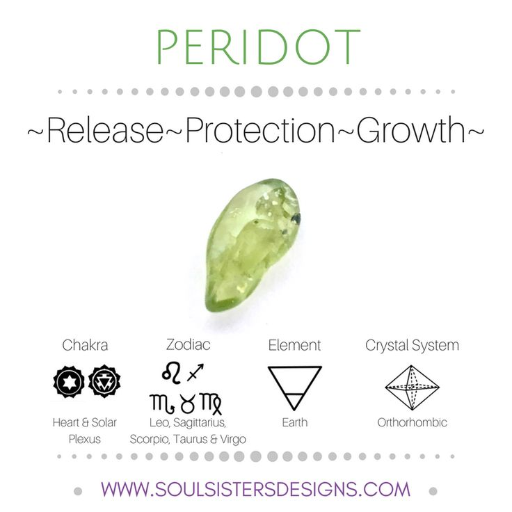Metaphysical Healing Properties of Peridot, including associated Chakra, Zodiac and Element, along with Crystal System/Lattice to assist you in setting up a Crystal Grid. Go to https://www.soulsistersdesigns.com to learn more!