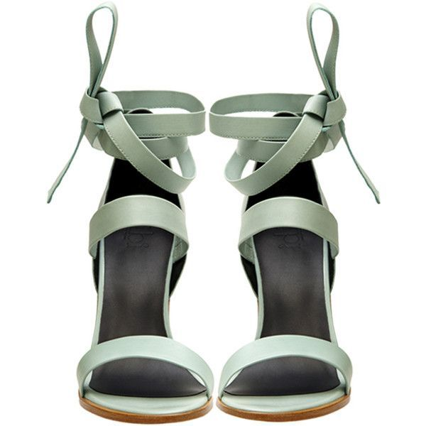 Tibi Mint Pierce sandals (£130) ❤ liked on Polyvore featuring shoes, sandals, heels, lace-up sandals, tibi shoes, mint shoes, lace up shoes and mint green heels shoes